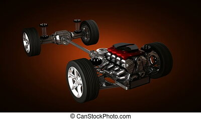 car chassis with engine. alpha