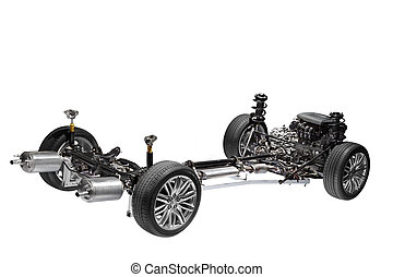 Image of car chassis with engine isolated on white.