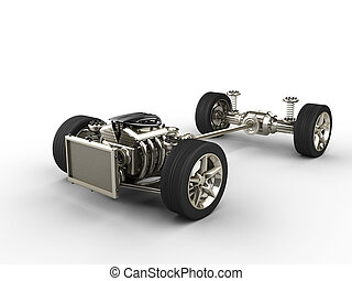 Car chassis with engine