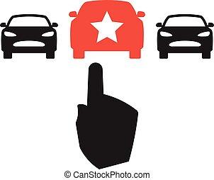 Car Choice concept - Car Choice - sign with three car...