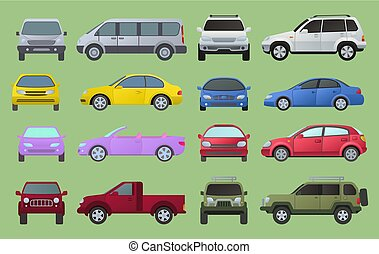 Car city different model objects icons set multicolor...
