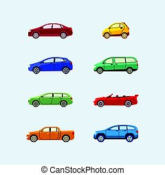 Car Classification - modern vector flat design icons set....