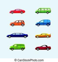 Car Classification - modern vector flat design icons set....