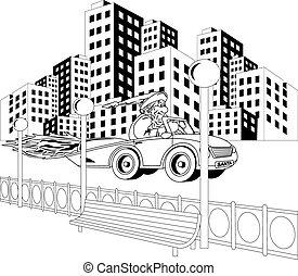 car, claus, santa, dirigindo