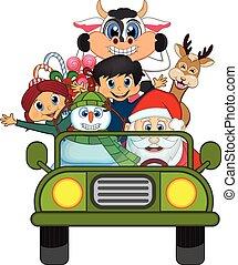 car, claus, verde, santa, dirigindo
