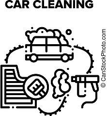 Car Cleaning Vector Black Illustration