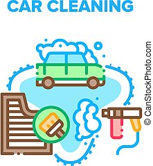 Car Cleaning Vector Concept Color Illustration