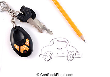 car - a car is drawn by a pencil