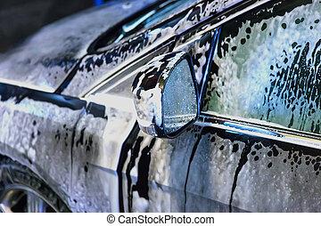 car, coberto, com, espuma