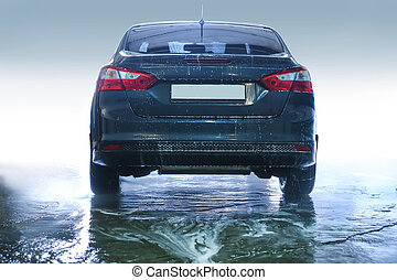 car, coberto, com, espuma, ligado, lavagem carro