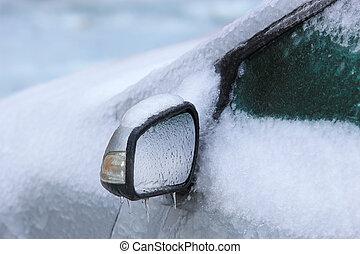 car, coberto, com, gelo, e, neve