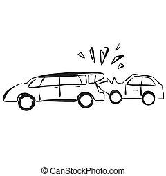 Car Collision Vector Hand drawn Sketch