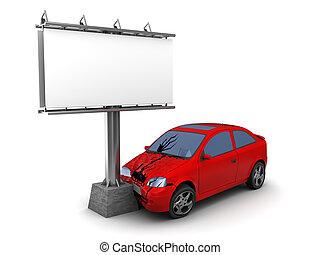 car collision with billboard