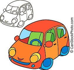 Car. Coloring book page. Cartoon vector illustration.