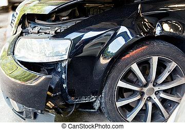 car, com, corporal, dano, após, um, acidente