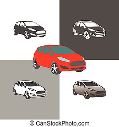 car compact city vehicle silhouette icons colored and outline set