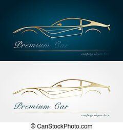 Gold silhouette car