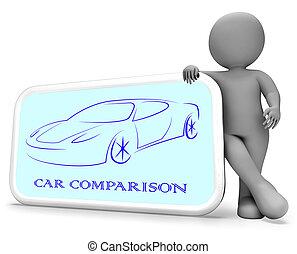Car Comparison Shows Auto Reviews 3d Rendering