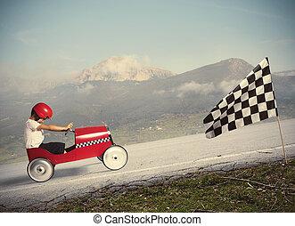 car, competir, crianças