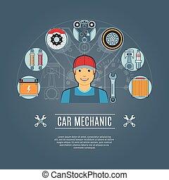 car, conceito, mecânico, ícones