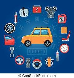 car, conceito, partes, ícones