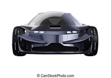 Car concept dark modern fast, front view