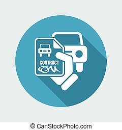 car, contrato, ícone