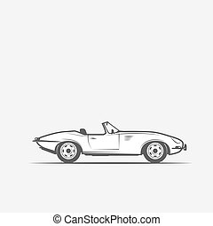 car convertible in black and white, grayscale - vector...