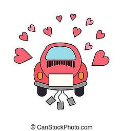 car, corações, amor, latas, casório