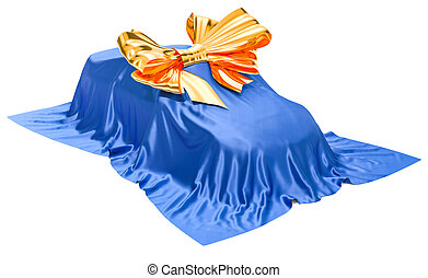 Car covered cloth with bow, gift concept. 3D rendering