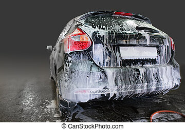 car covered with foam
