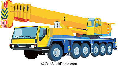 yellow crane on the basis of the car in the collapsed state