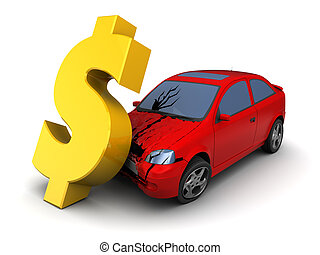car crash - 3d illustration of car collision with dollar...