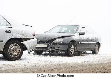 car crash ca accident at snow road in winter