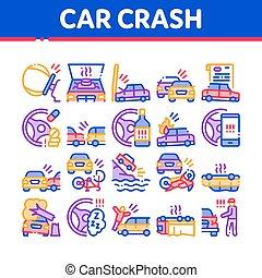 Car Crash Accident Collection Icons Set Vector. Car Crash ...