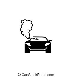 Car Crash Accident Flat Vector Icon