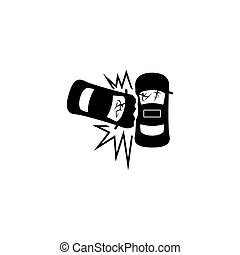 Car Crash Accident Flat Vector Icon