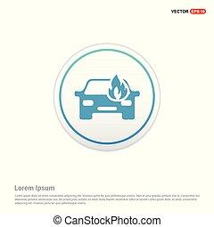 Car crash accident icon - white circle button