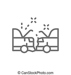 Car crash, accident line icon. Isolated on white background