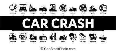 Car Crash Accident Minimal Infographic Banner Vector - Car ...