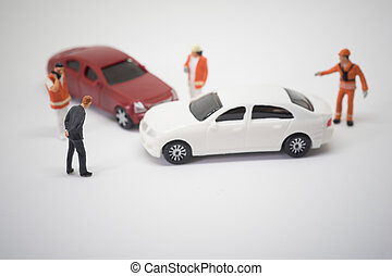 Car crash accident scene