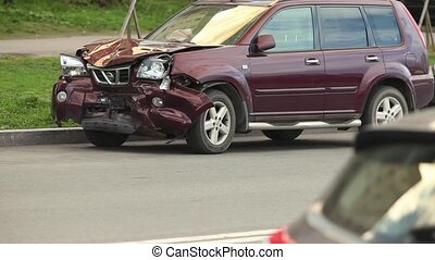 Car crash after a head-on collision