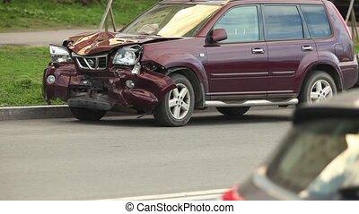 Car crash after a head-on collision