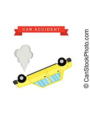 Car crash and accident on white background
