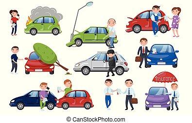 Car crash and accident set, car insurance cartoon vector Illustration