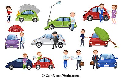 Car crash and accident set, car insurance cartoon vector...