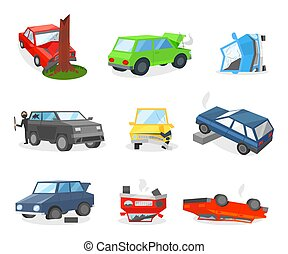 Car crash and accidents. Robber in mask broke window in auto. Vehicle with punctured tire. Damaged automobiles. Flat vector set
