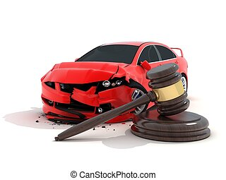 Car crash and law - Car crash on white background and law...