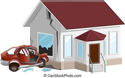 Car crash. Auto crashed into wall at home. Property ...