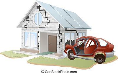 Car crash. Car crashed into wall at home. Property insurance...